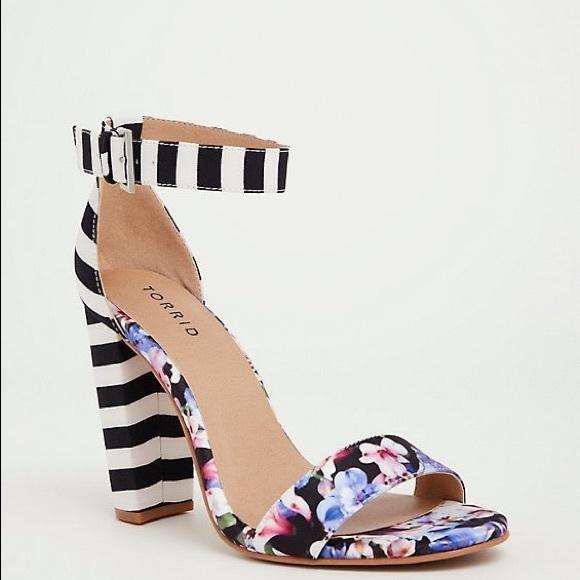 63a3fb5ab2d Torrid printed floral and stripe strap heel! BNIB